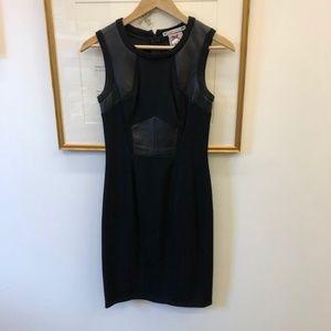 Black Sheath Dress w Leather detail Yoana Baraschi